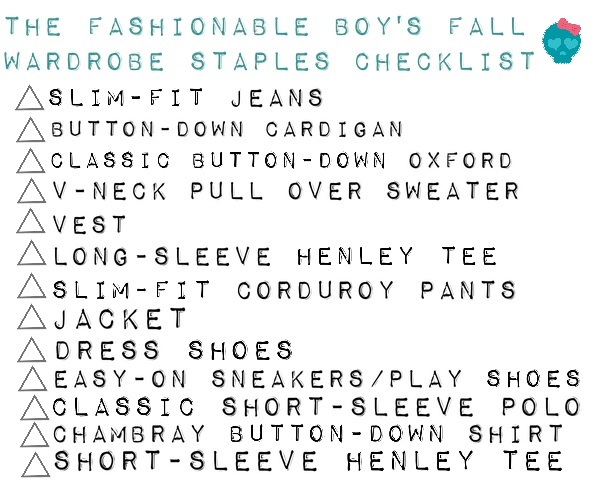 the fashionale boy's fall wardobe staples checklist